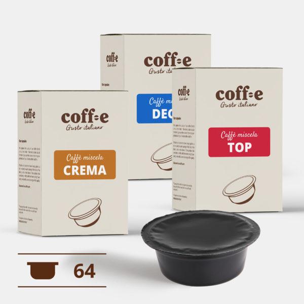 Capsule compatibili Lavazza A Modo Mio® - Miscele Caffè Robusta, Arabica e Caffè decaffeinato - Coff-e