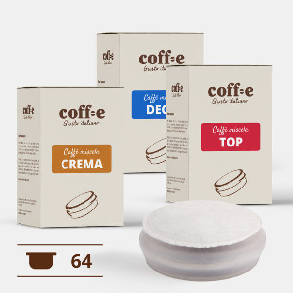 Capsule sistema chiuso Coff-e - Miscele Caffè Robusta, Arabica e Caffè decaffeinato