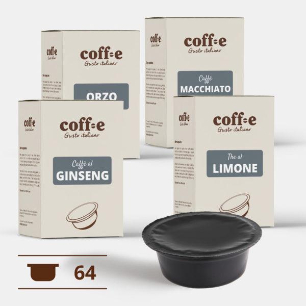 Capsule compatibili Lavazza A Modo Mio® - Ginseng, Orzo, Caffè macchiato, The al limone - Coff-e