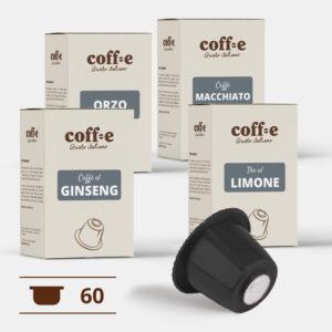 Capsule compatibili Nespresso® - Ginseng, Orzo, Caffè macchiato, The al limone – Coff-e