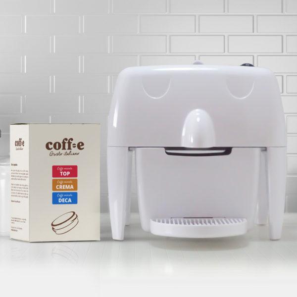 Coff-e Machine - Macchina da caffè a capsule bianca e kit assaggio dei nostri caffè torrefatti artigianalmente - Coff-e System