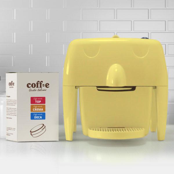 Coff-e Machine - Macchina da caffè a capsule gialla e kit assaggio dei nostri caffè torrefatti artigianalmente - Coff-e System