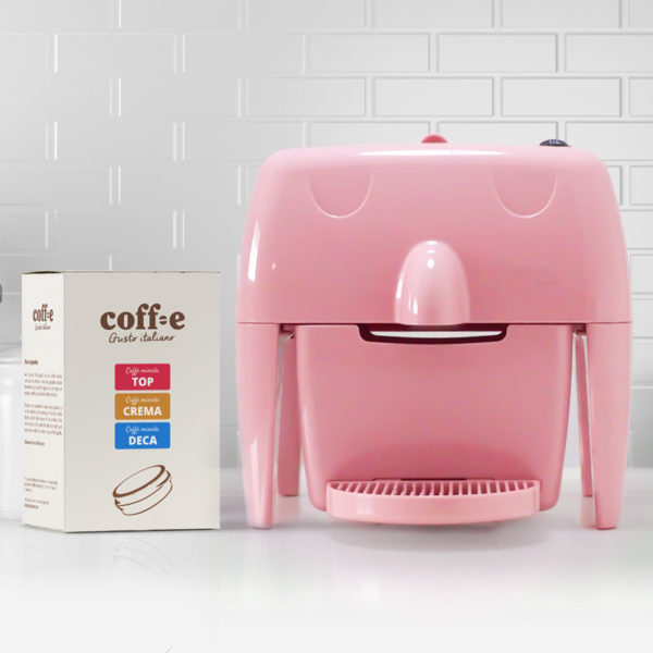 Coff-e Machine - Macchina da caffè a capsule rosa e kit assaggio dei nostri caffè torrefatti artigianalmente - Coff-e System