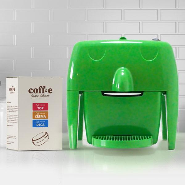 Coff-e Machine - Macchina da caffè a capsule verde e kit assaggio dei nostri caffè torrefatti artigianalmente - Coff-e System