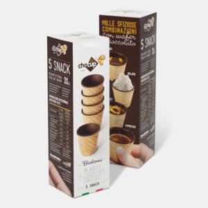 Vendita online confezione da 5 bicchierini in wafer e cioccolato per gustare caffè, liquori, gelato o piccoli dolci - COFF-E